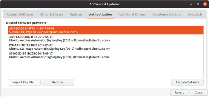 Se agregó la clave de administración de la interfaz gráfica de usuario del repositorio de Ubuntu
