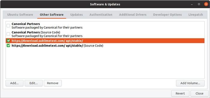 Gestión de interfaz gráfica de usuario del repositorio de Ubuntu Eliminar repositorio