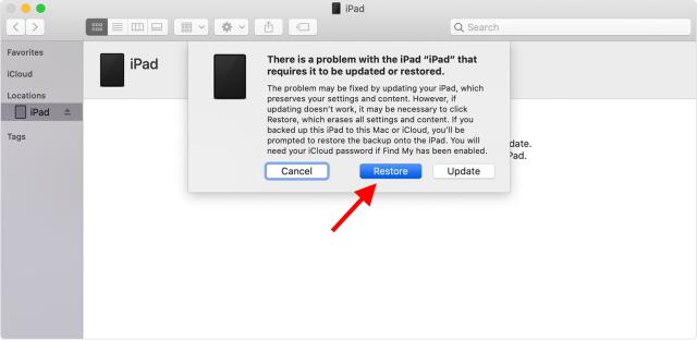 Restaurar iPad deshabilitado