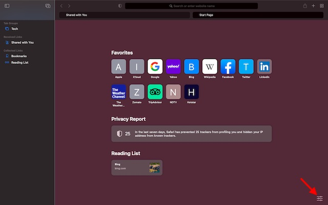 tres líneas horizontales: instale el navegador Safari en macOS Big Sur