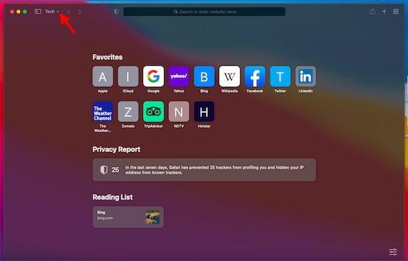 Flecha hacia abajo: instale el navegador Safari en macOS Big Sur