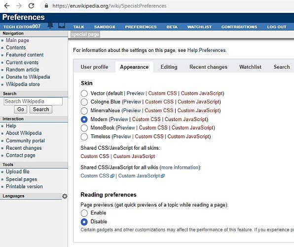 Actualizaciones de la página de usuario en las preferencias Cambio de apariencia