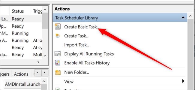 """Programador de tareas de Windows 10 con una flecha roja que apunta al """"Crear tarea básica"""" opción."""