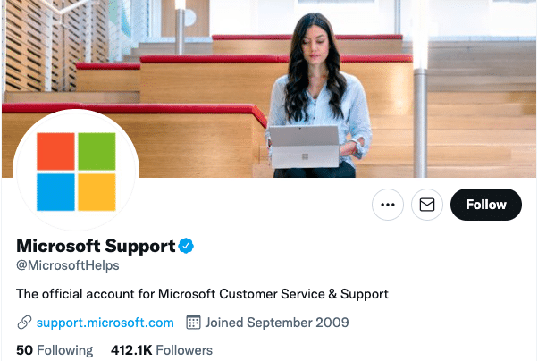 cuenta de Twitter de soporte de microsoft