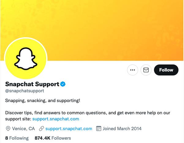 cuenta de Twitter de soporte de Snapchat
