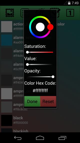 Colores seleccionados de resflux