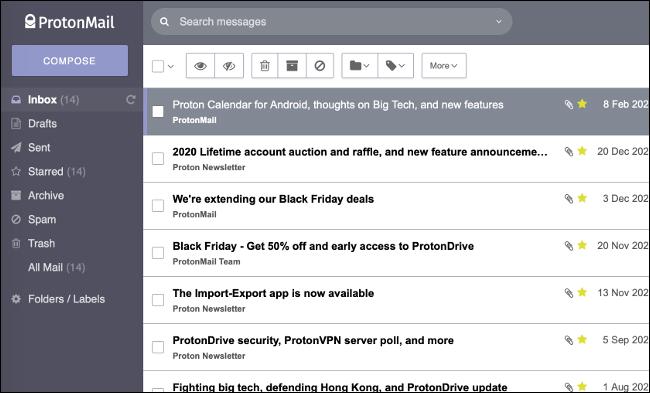 Bandeja de entrada de ProtonMail