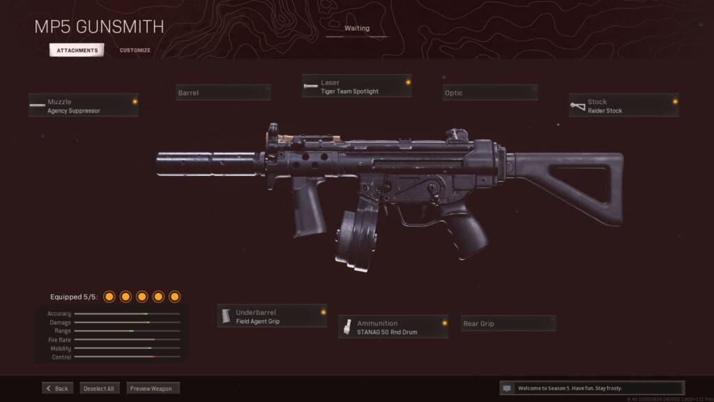 Mejor equipamiento MP5 de la zona de guerra de la Guerra Fría