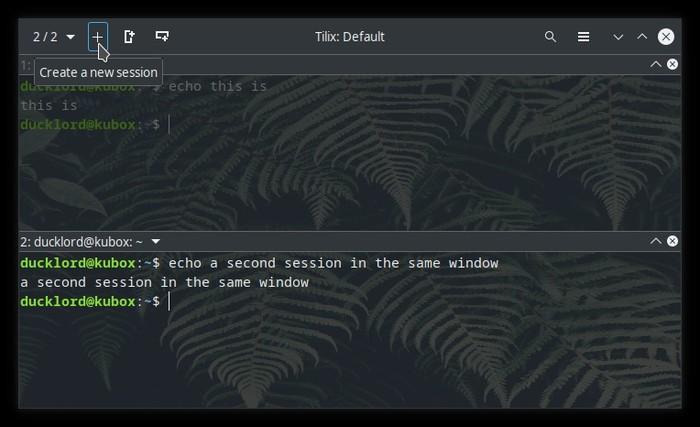 Terminal actualizado con botón de nueva sesión de Tilix