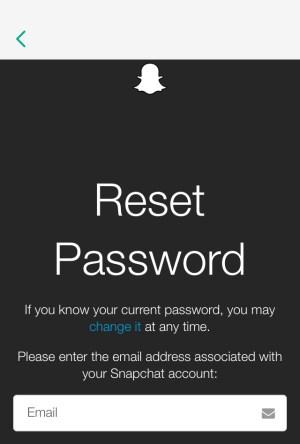 Restablecer el correo electrónico de Snap Password