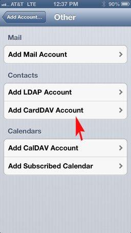 Cuenta CardDav iOS