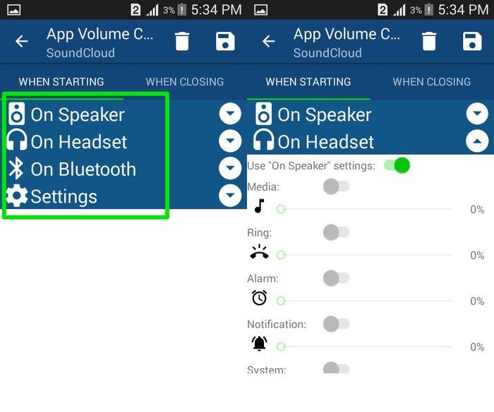Fuentes de salida de Android-App-Volume-Manager
