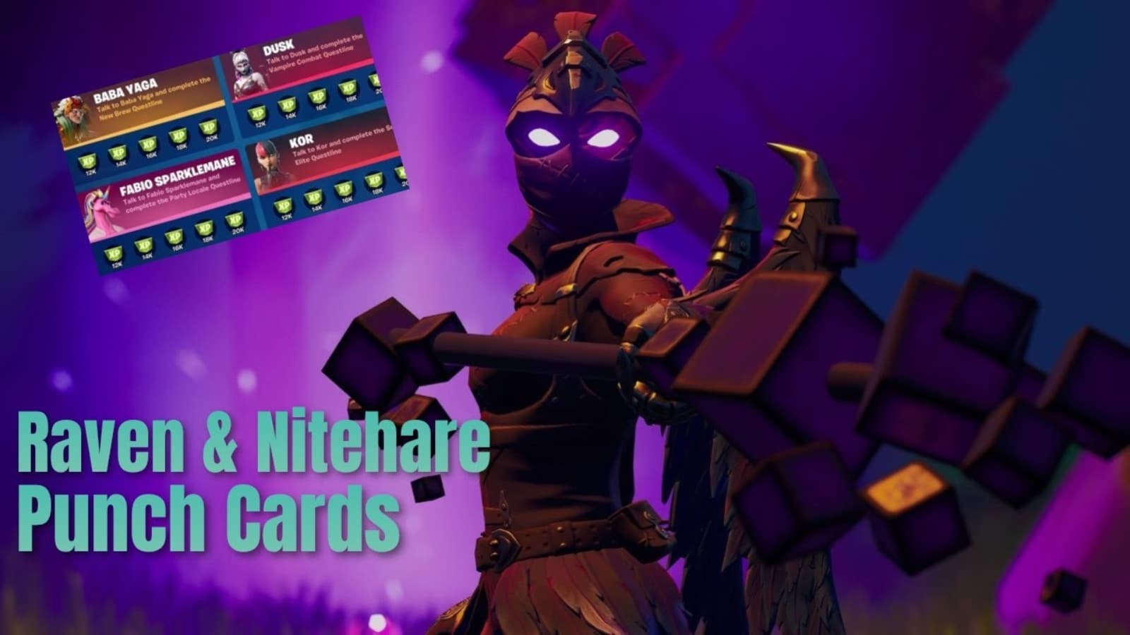 Misiones de tarjetas perforadas de Fortnite Raven: desafíos de Nitehare en la temporada 8