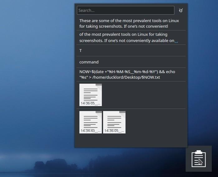 Lista de portapapeles de notas de Txt del widget del portapapeles de Kde