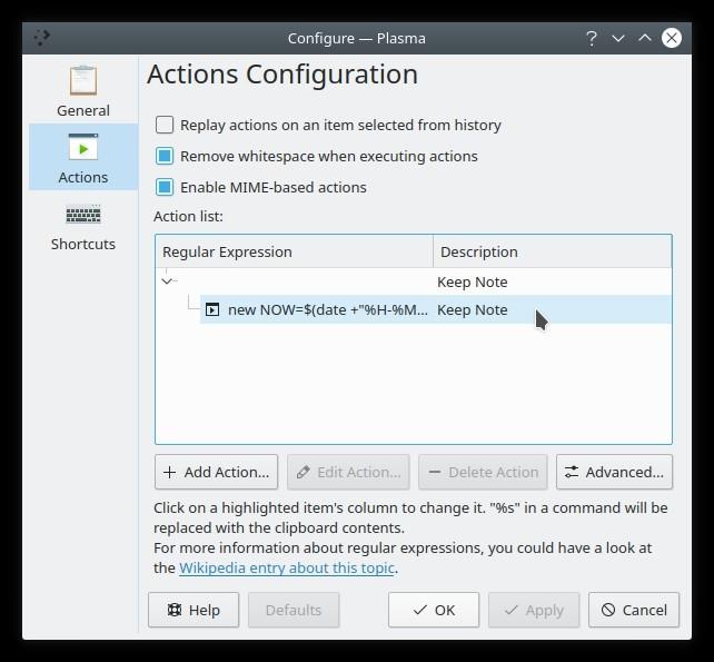 Configuración de acciones de notas de texto de widget de portapapeles de Kde