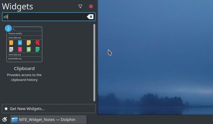 Panel de widget de notas de texto de widget de portapapeles de Kde