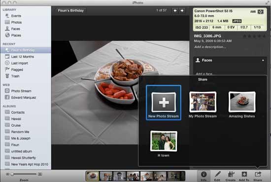 Agregar a Photo Stream con iPhoto