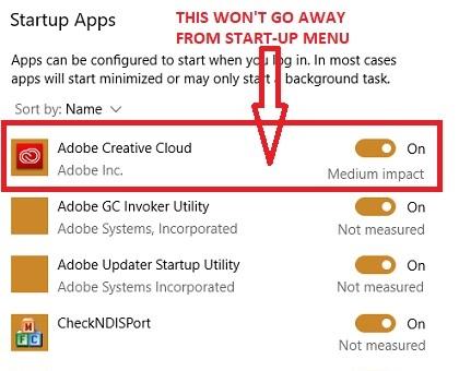 Adobe Creative Cloud en el menú Inicio