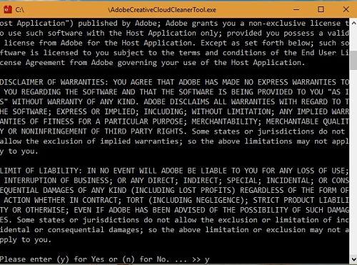 Descargo de responsabilidad de Adobe Creative Cloud Cleaner