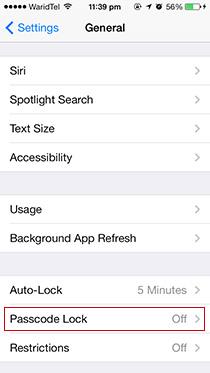 Configuración-Código de acceso-Bloqueo-iOS