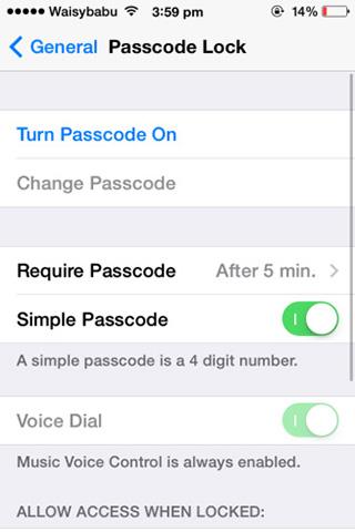 iPhone iPad iPod touch-Passcode-Lock-settings