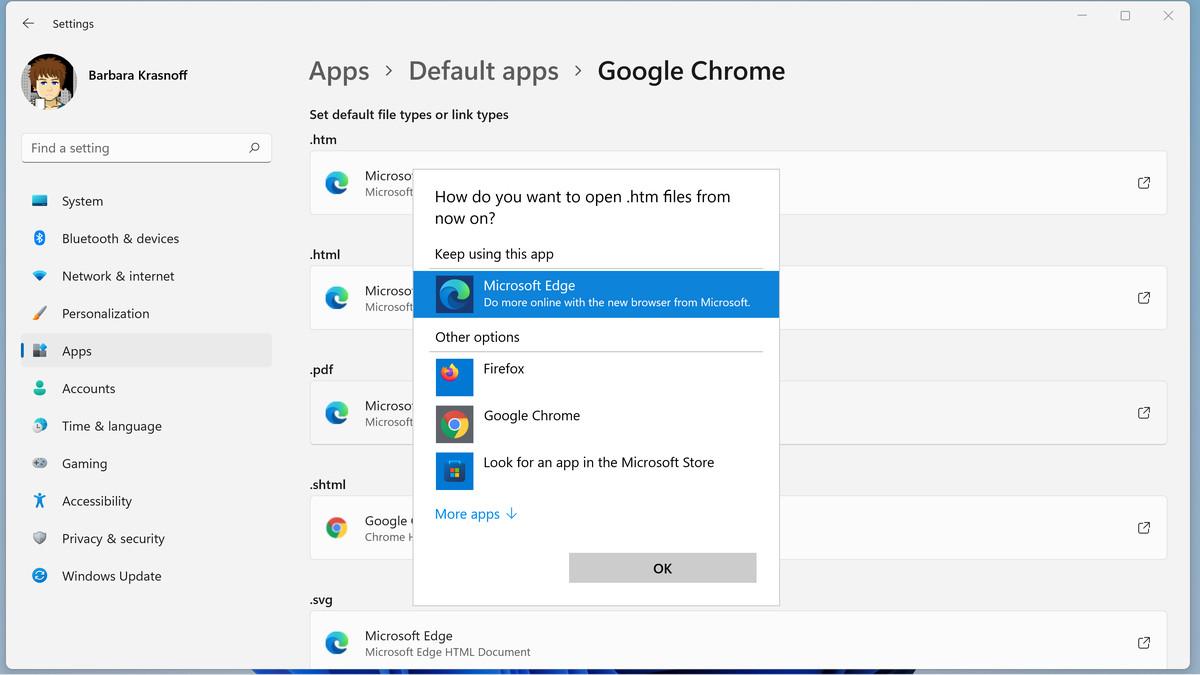 Puede cambiar cada tipo de archivo para una aplicación instalada adecuada.