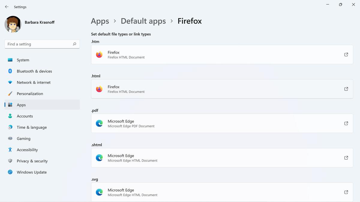 El asistente predeterminado de Firefox cambia algunas, pero no todas, las configuraciones de archivos del navegador.