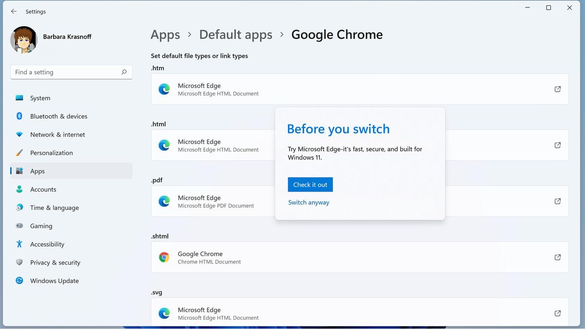 Cuando hace clic por primera vez en un tipo de archivo, Windows puede intentar desalentar cualquier cambio.