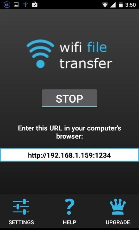 Enlace IP de transferencia de archivos Wi-Fi