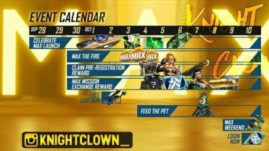 Calendario de eventos de FIre max gratis