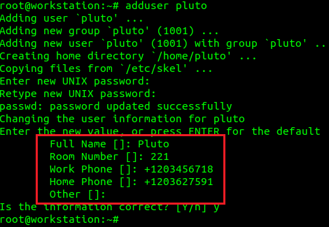 campo GECOS de usuario de linux
