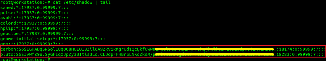 mostrar entradas de / etc / shadow