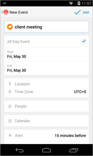Calendario de amanecer nuevo evento