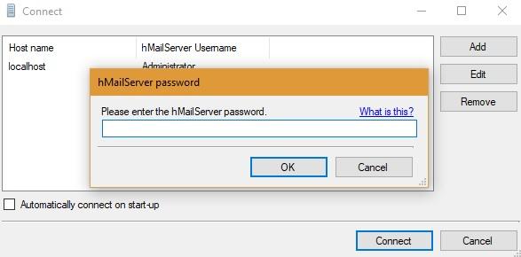 Conectar al administrador de hMailServer