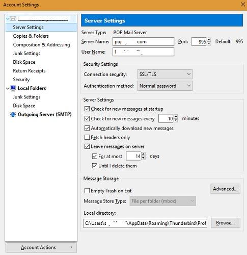 Configuración del servidor Thunderbird