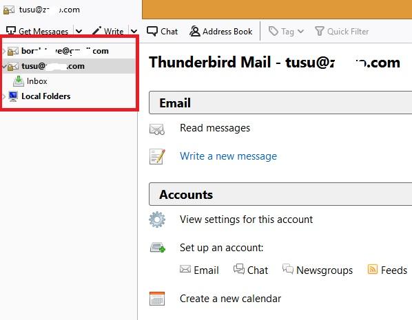 Varias cuentas de correo electrónico Thunderbird
