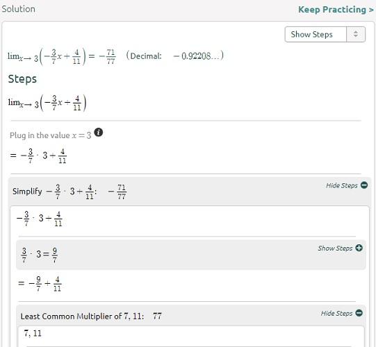 Symbolab limita la ecuación, paso 2
