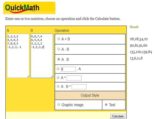 Ecuación matricial QuickMath resuelta