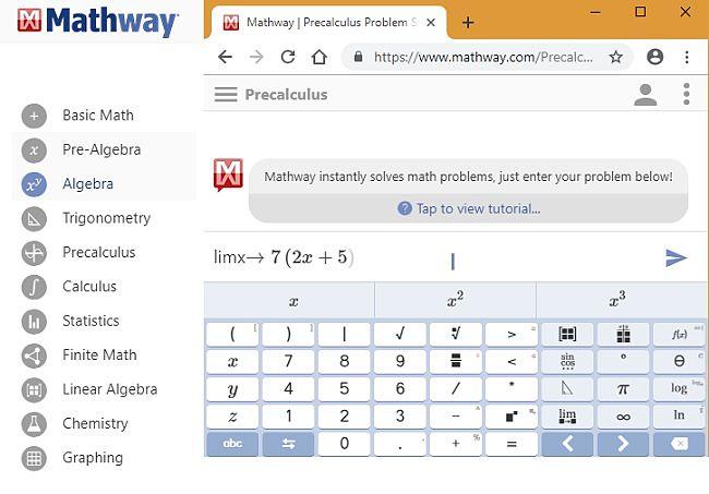 Problema de precálculo de Mathway resuelto