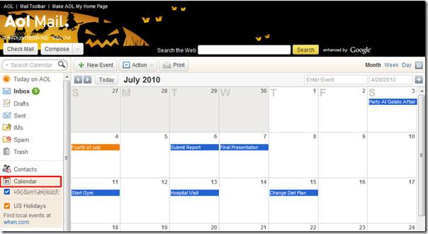 calendario aol