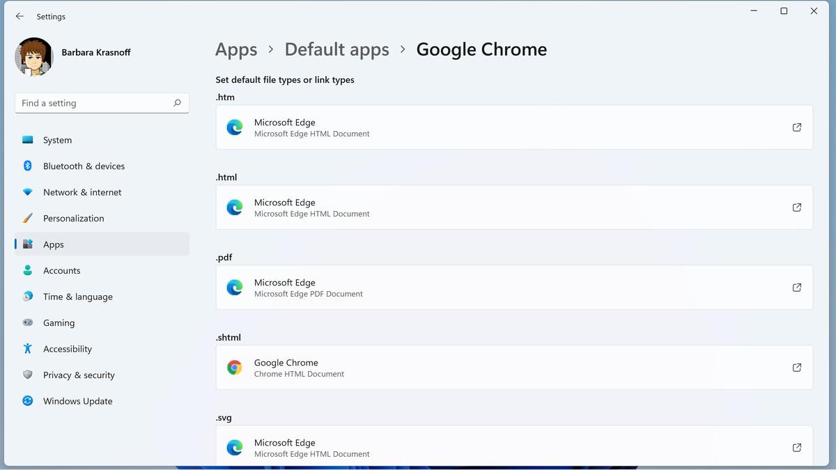 Cambiar de navegador significa asociar cada tipo de archivo con su nuevo navegador.