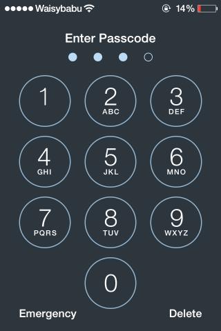 ios 7 pantalla de bloqueo habilitada entrada de código de acceso