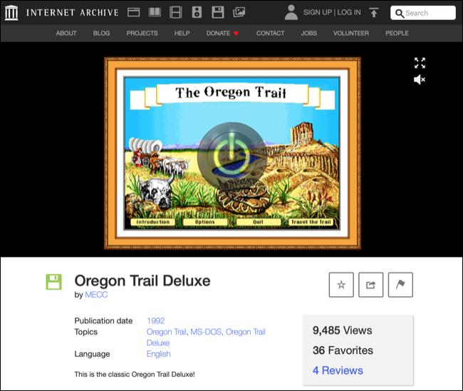 Jogando jogos DOS no arquivo da Internet por meio de um navegador