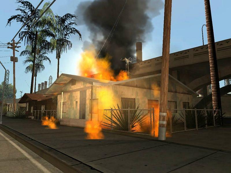 Uma casa aleatória em chamas por causa dos tumultos (Imagem via GTA Wiki)