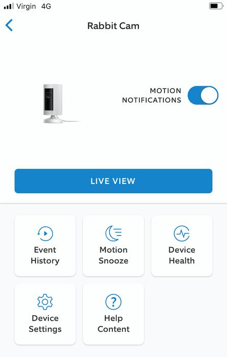 """Você pode ativar e desativar as notificações de movimento, tocando no controle deslizante """"Notificações de movimento""""."""