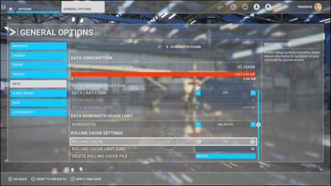 A tela Opções Gerais no Microsoft Flight Simulator.
