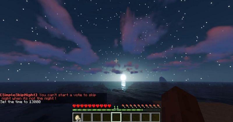 Com o plugin skip night, os jogadores podem votar se eles gostariam de pular a noite ou não (Imagem via Minecraft Wiki)