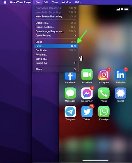 Salve sua gravação de chamada FaceTime no Mac