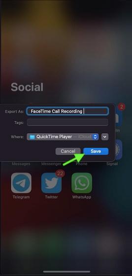 Dê um nome adequado para sua gravação de chamada FaceTime no Mac
