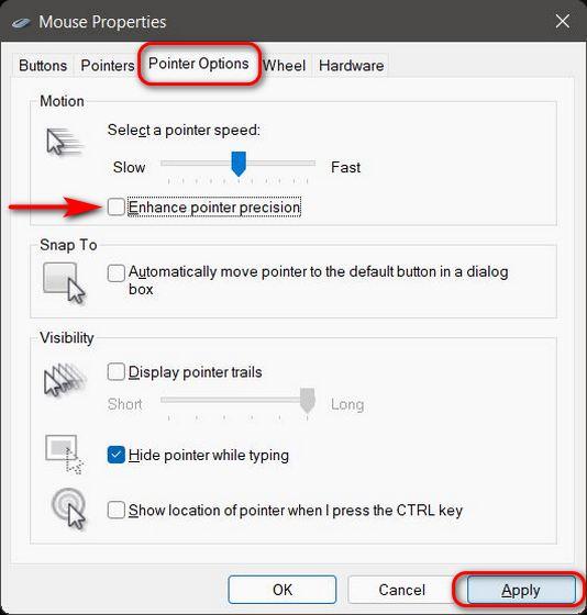 Desative a aceleração do mouse no Windows 11